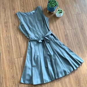 Calvin Klein Gray Pleated A-Line Dress Size 14
